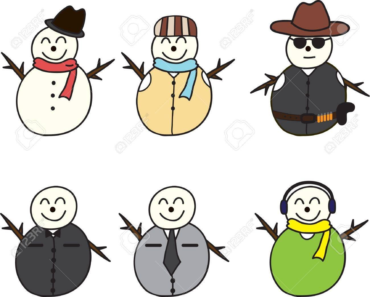 cartoon of set of Snowman Stock Vector - 15676595