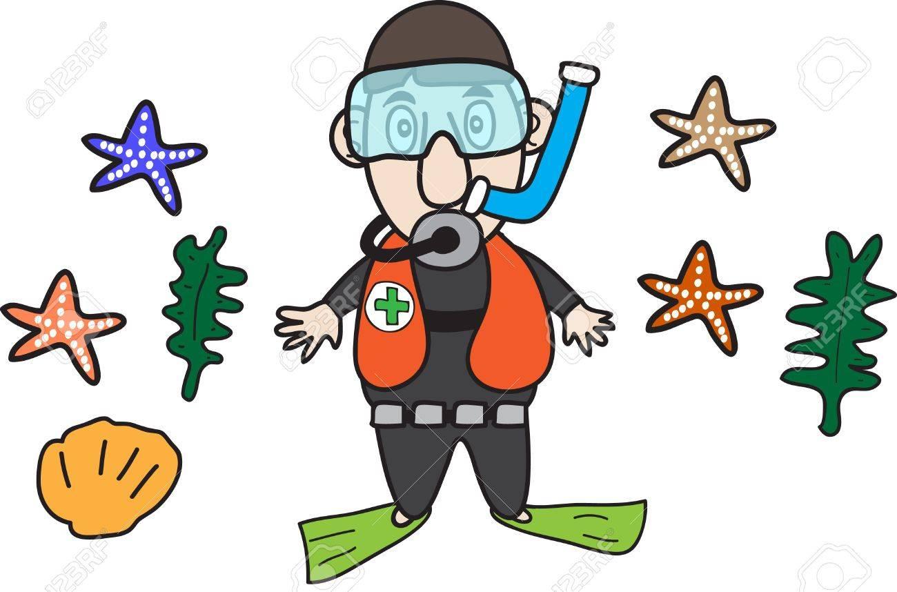 Set of Cartoon diver and marine life Stock Vector - 15676692