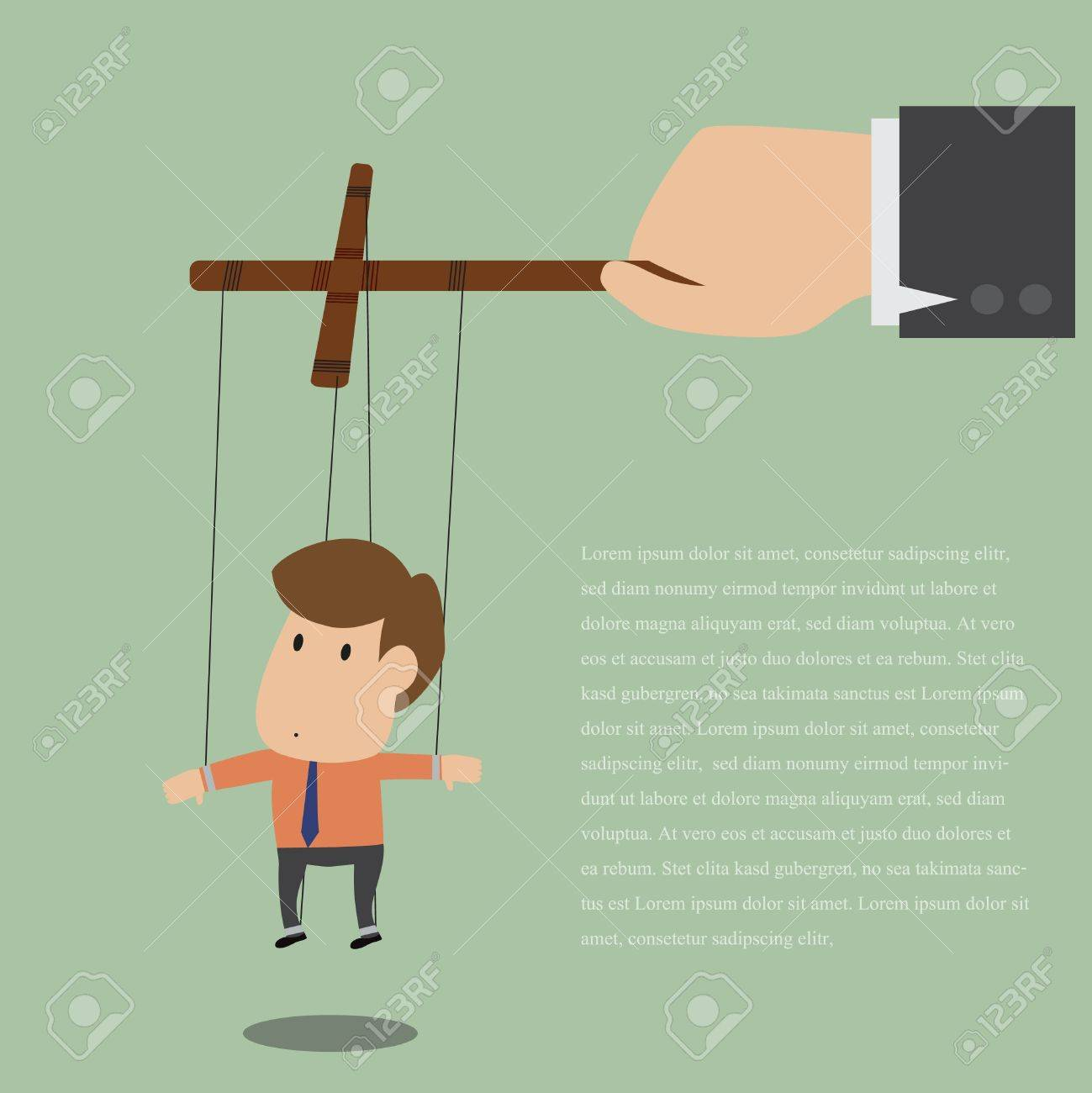 Vector cartoon of Marionette of Businessman with rope controlled Stock Vector - 19807348