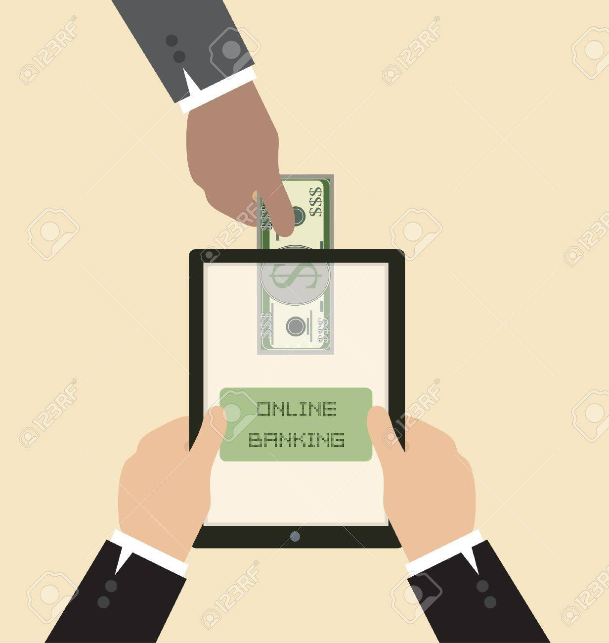 Vector Cartoon of Online banking concept : Send money via smart phone Stock Vector - 19807372