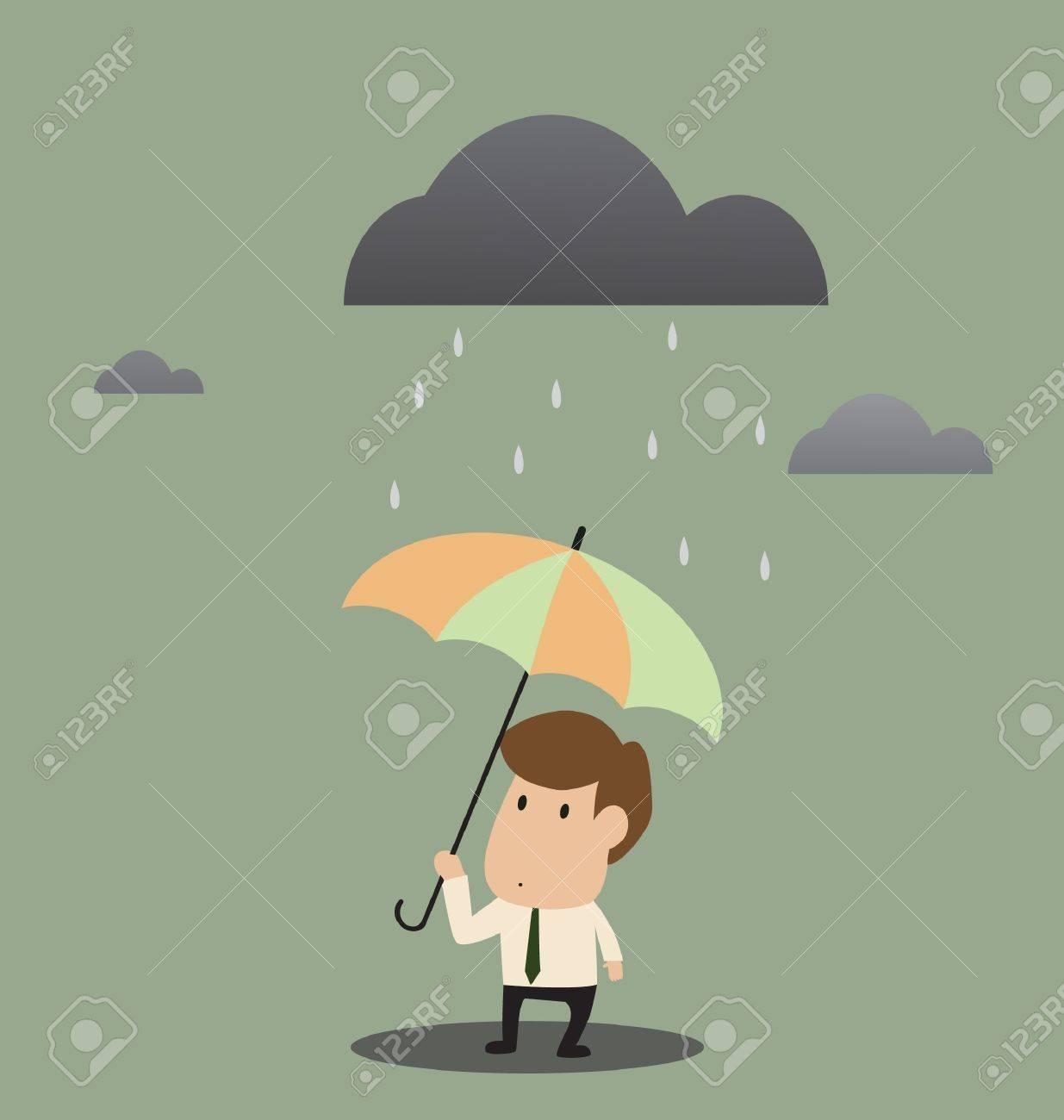 Vector cartoon of Businessman under an umbrella in the rain Stock Vector - 20337138