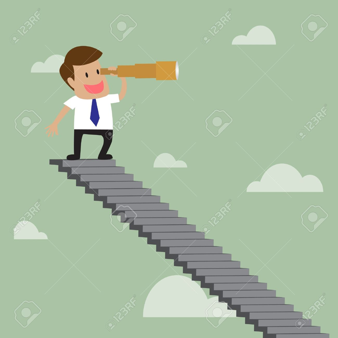 cartoon of Businessman looking to the view with telescope  at top of stairway over sky Stock Vector - 21011042