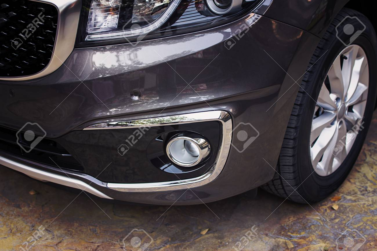 Front Bumper Dark Grey Color Of Luxury Car In Front Side View Stock