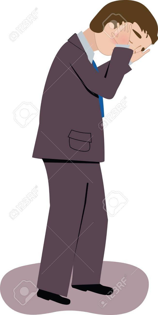 スーツで立っている人は泣いている人のイラスト素材 ベクタ Image