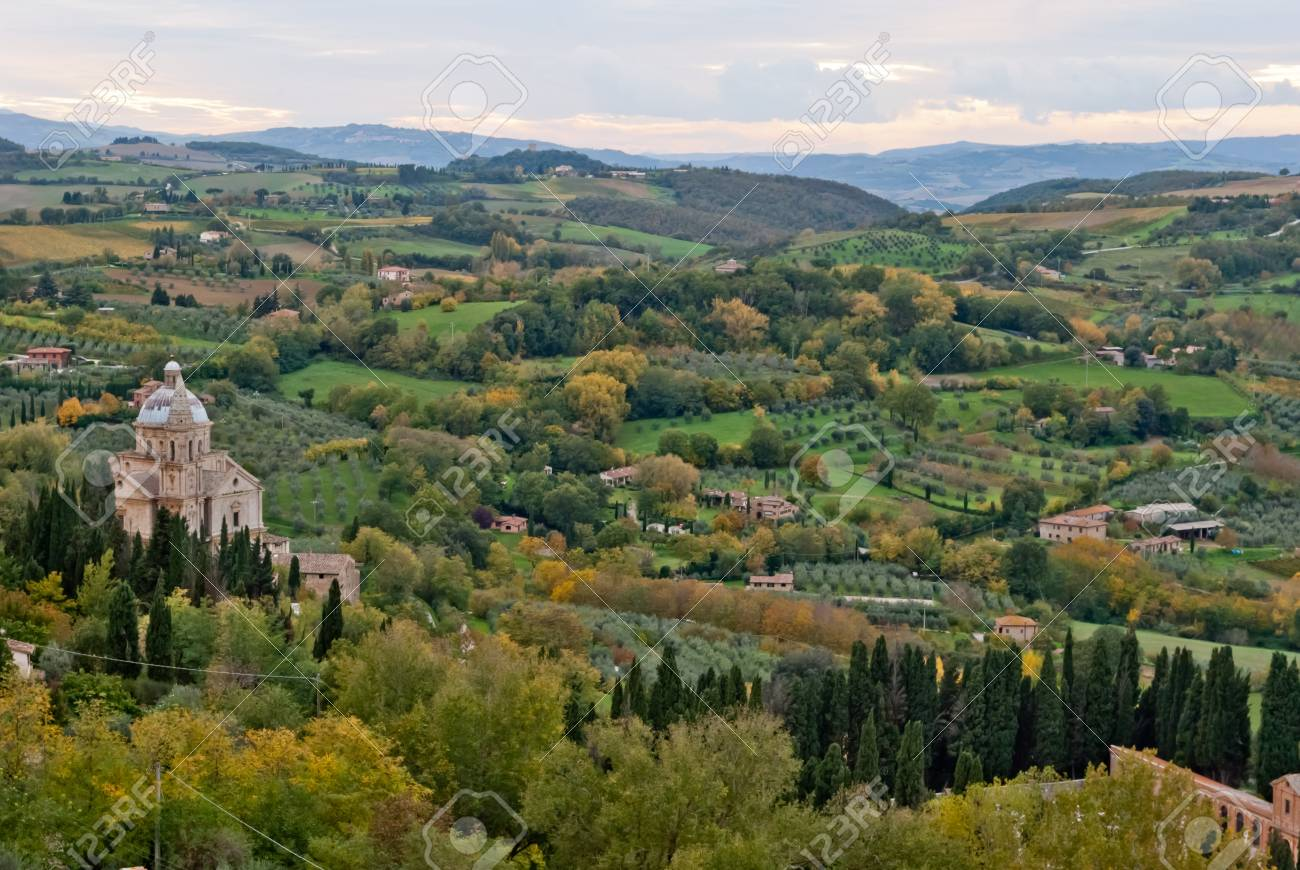 Montepulciano,panorama with St Biagio Cathedral, Tuscany Stock Photo - 16427120