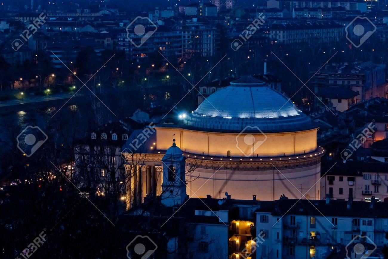 Torino, Gran Madre di Dio Church by night Stock Photo - 17947122