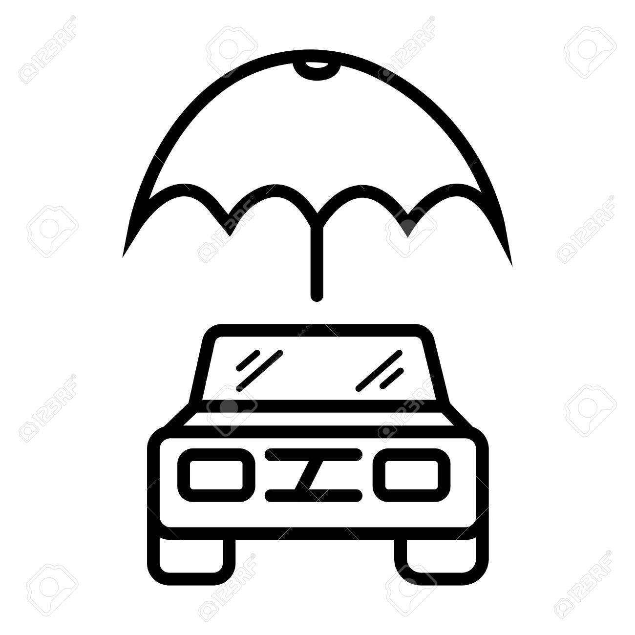 Umbrella Above Car Icon Vector Car Protect Royalty Free Cliparts