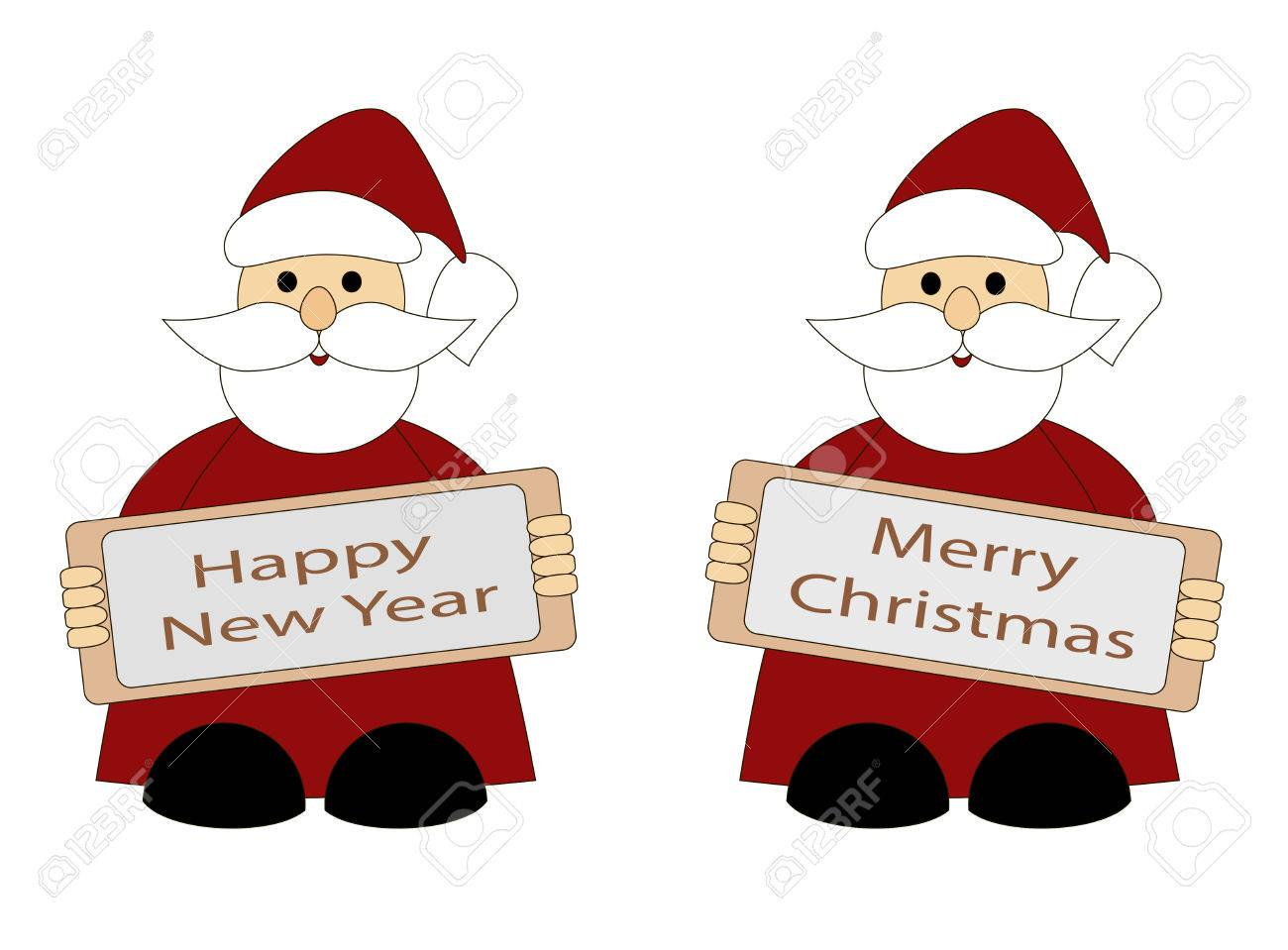Santa Claus Greeting Card Happy New Year And Merry Christmas