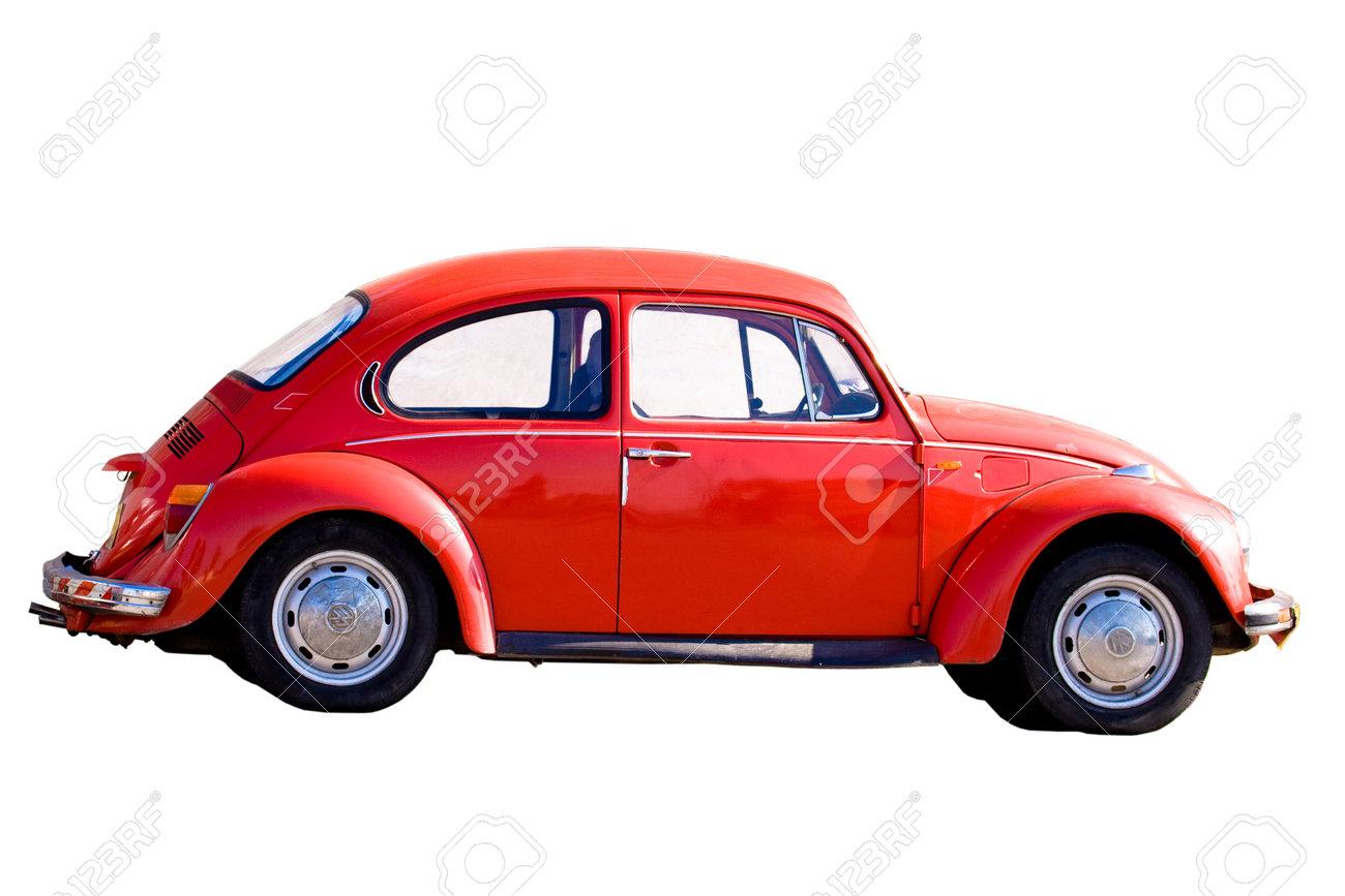 Jerusalem, Israel - December 26, 2007: Red vintage car Beetle VW 1303 (1973) isolated on a white background. - 33372071