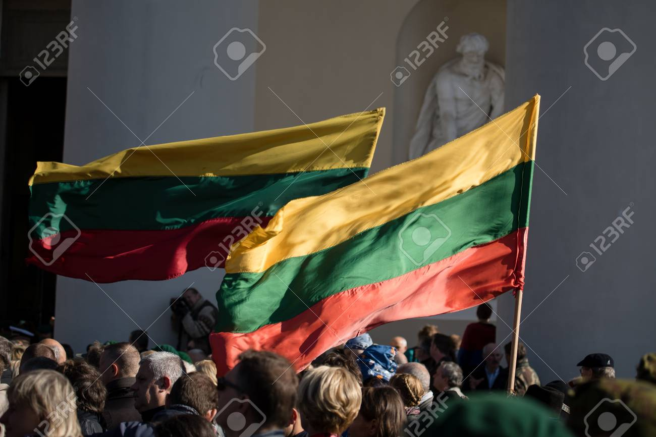 Vilnius, Lithuania - October 6, 2018: The state funeral of Brigadier General Adolfas Ramanauskas-Vanagas, prominent leader of the Lithuanian Freedom Fighters (partisans) against Soviet occupation. - 109720973