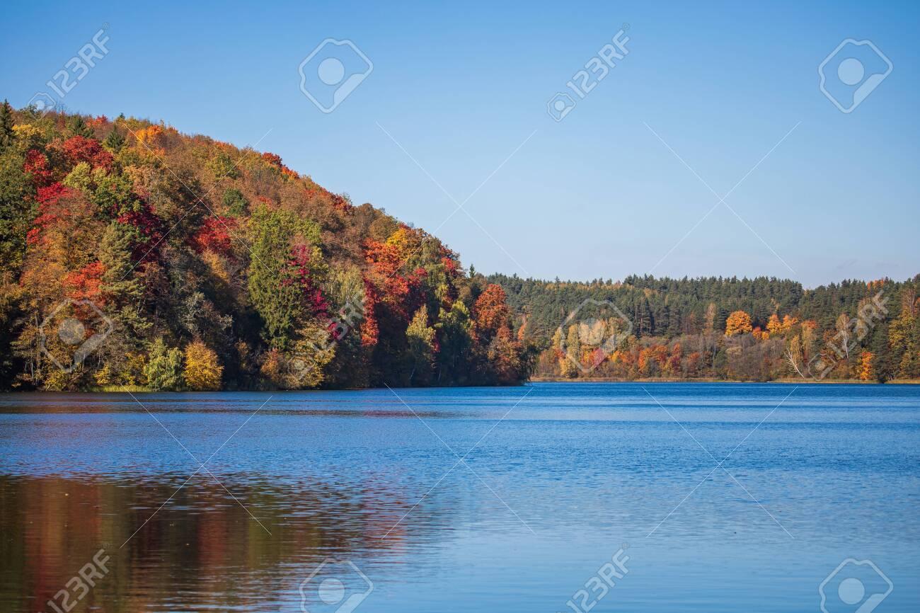 Autumn foliage around the Green Lakes (Zalieji ezerai), six lakes in Verkiai Regional Park, Vilnius, Lithuania - 142558688