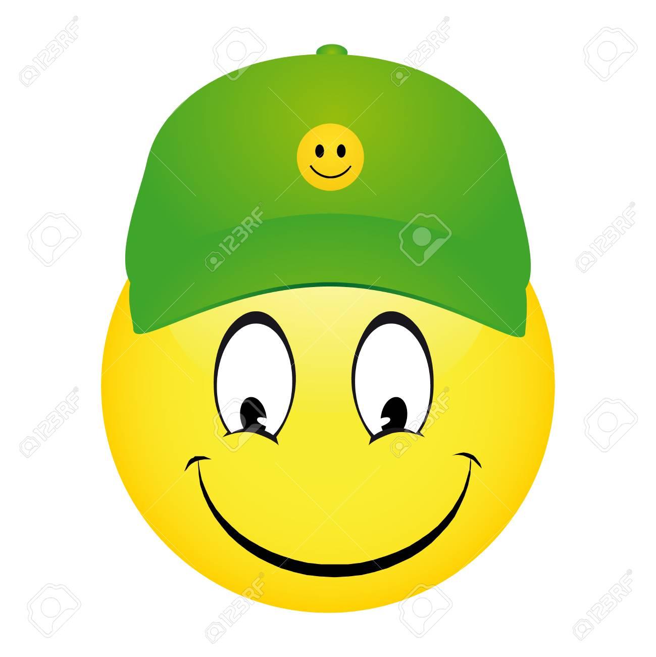 Foto de archivo - Ilustración del vector de emoticon de dibujos animados  sonriente que llevaba una gorra y apuntando 5b78703266d
