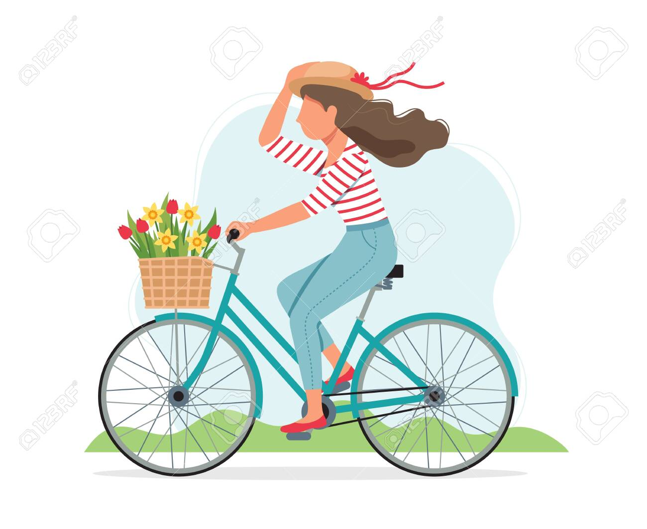 Woman riding a bike in spring with flowers in the basket. Cute vector illustration in flat style - 139128362