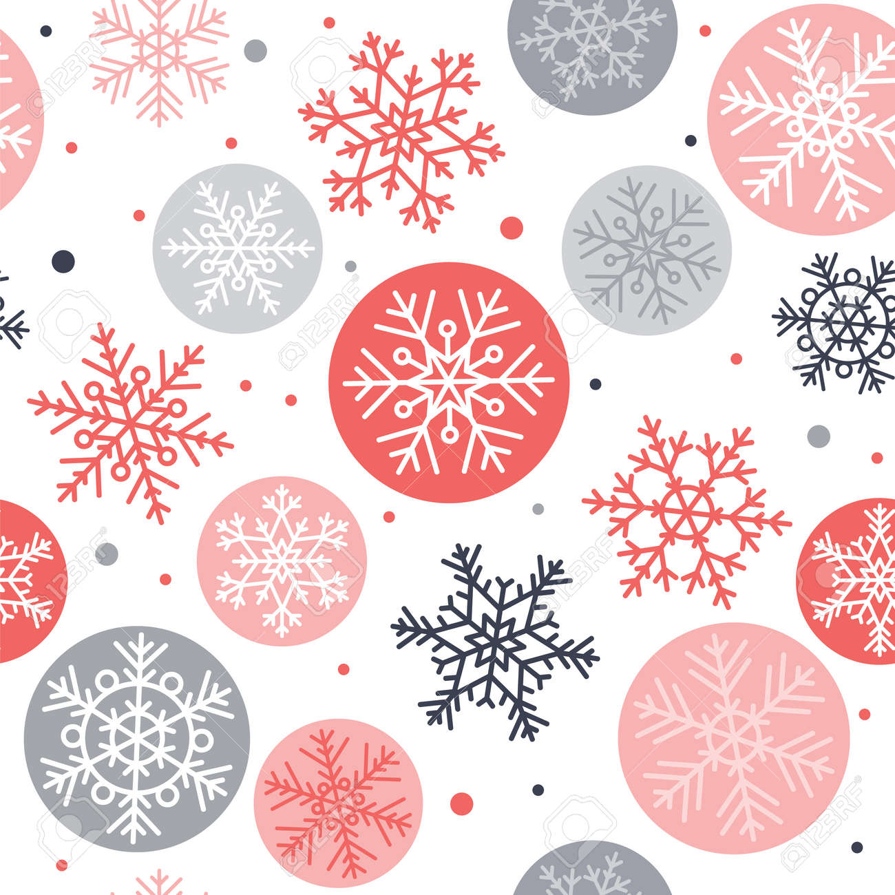 Snowflakes seamless pattern, winter concept vector illustration - 158353196