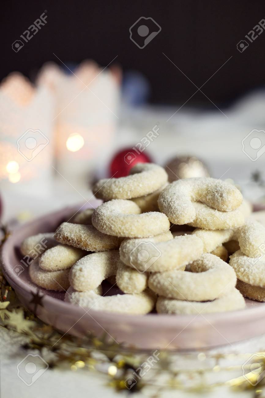 Vanilla Christmas Cookies With Candles
