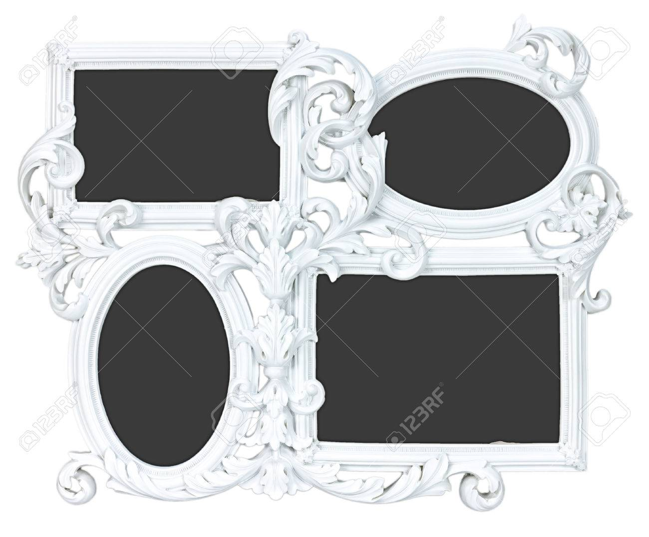 Elegant White Photo Frame Made From Gypsum With 4 Places For.. Stock ...