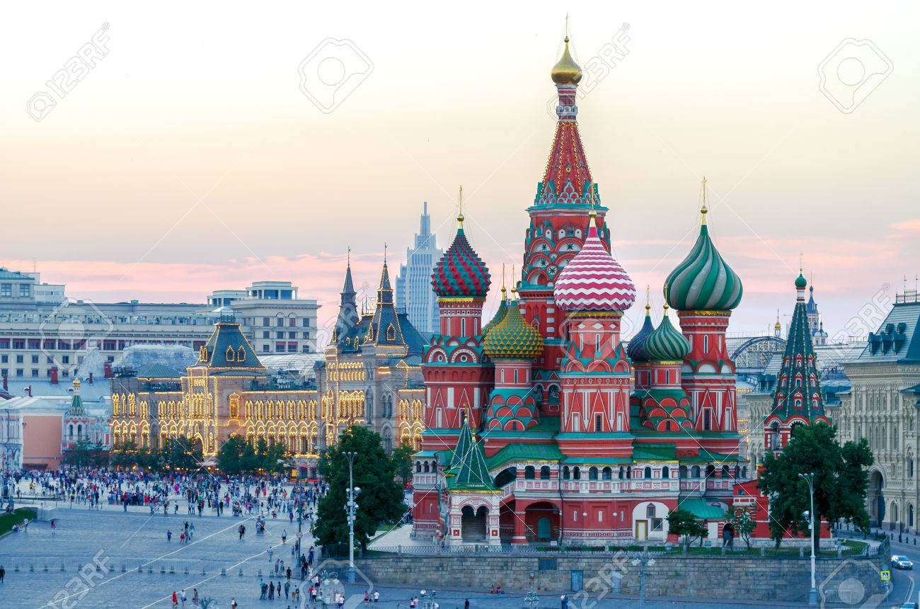 the saint basil s cathedral at the red square in summer at sunset