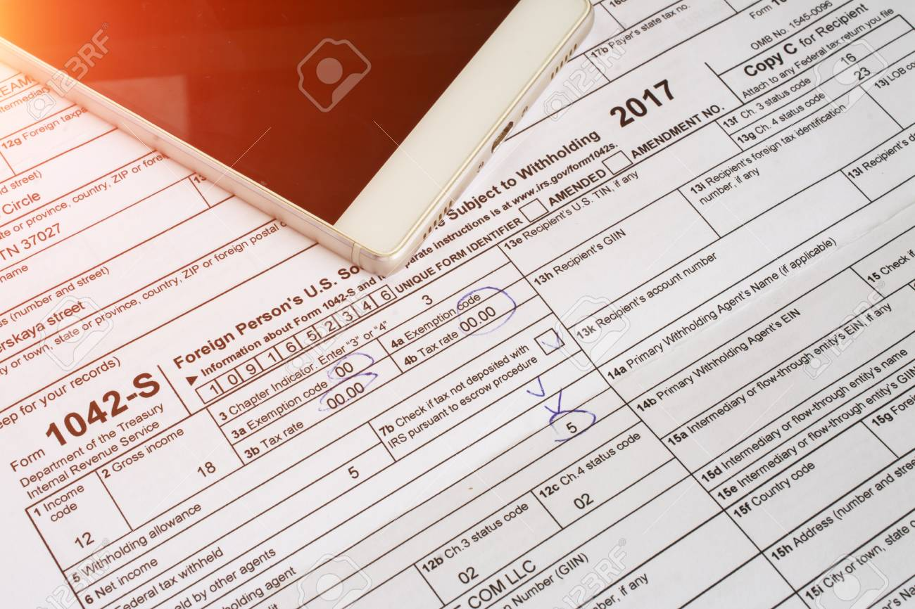 US tax form 1042, foreign person