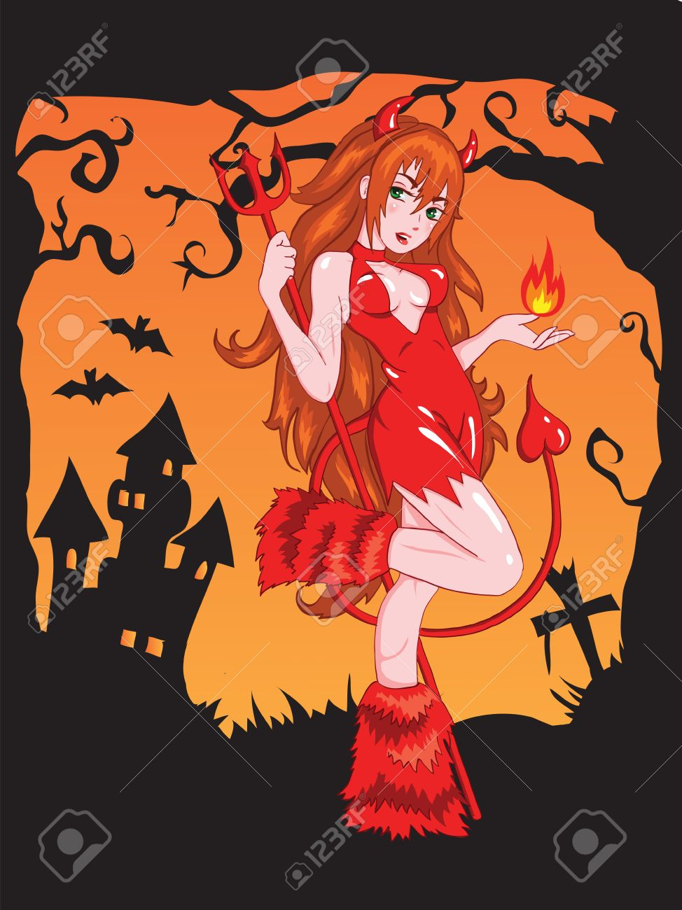 Devil girl with fire Stock Vector - 11185513