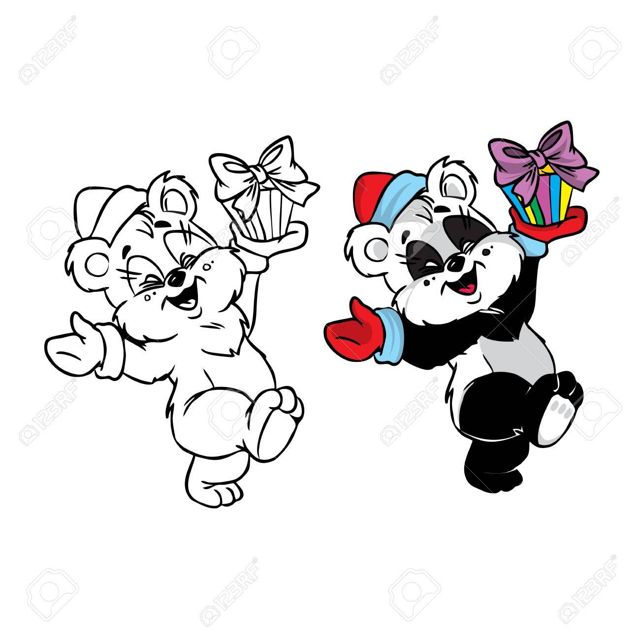 Vector Illustration of happy Christmas panda bear in color and black and white; isolated on background. Stock Vector - 11185516