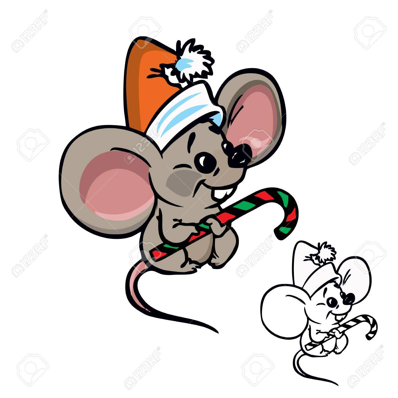 Christmas Mouse.Illustration Of Cute Christmas Mouse With Candy