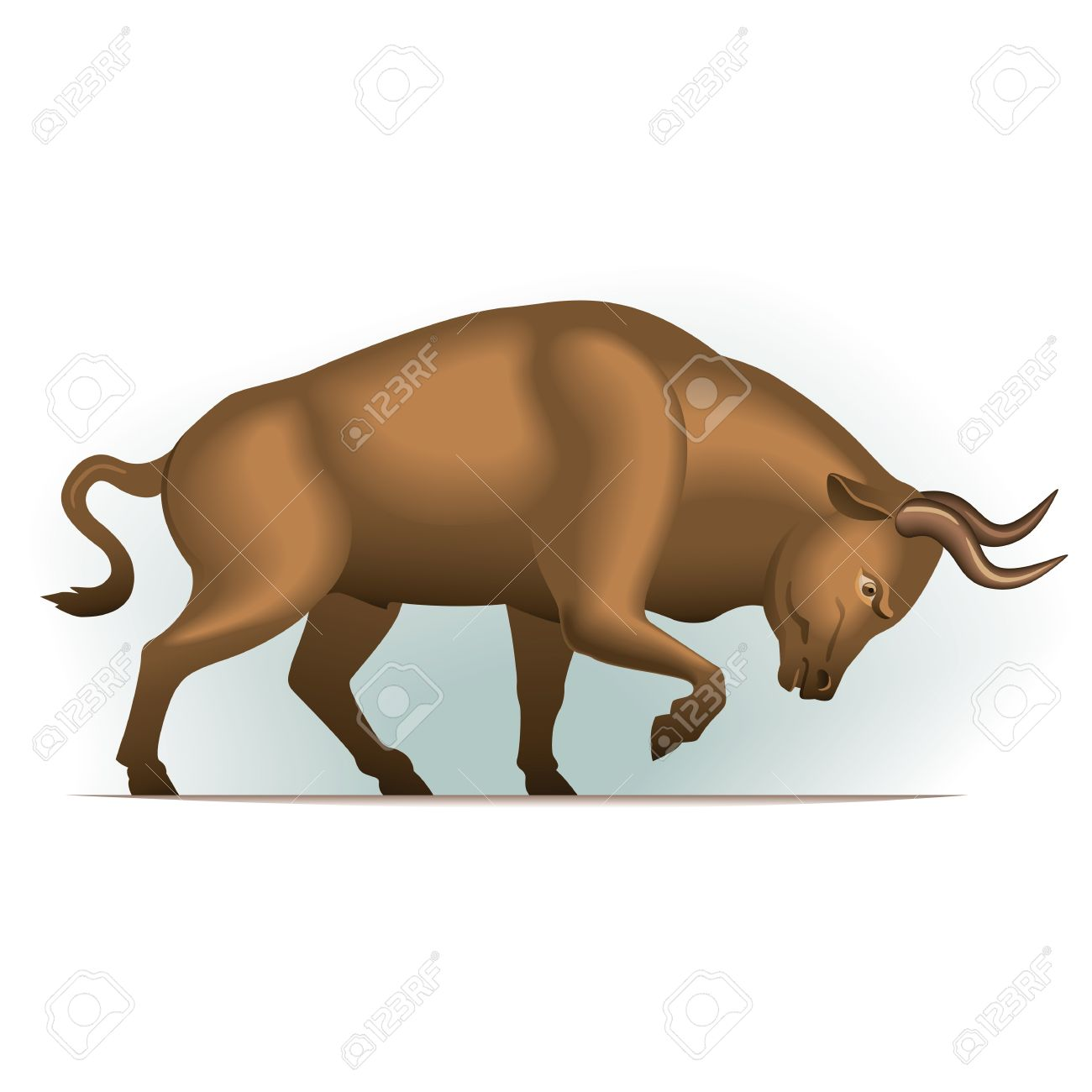 Bull vector illustration in color, financial theme ; isolated on background. Stock Vector - 11974258