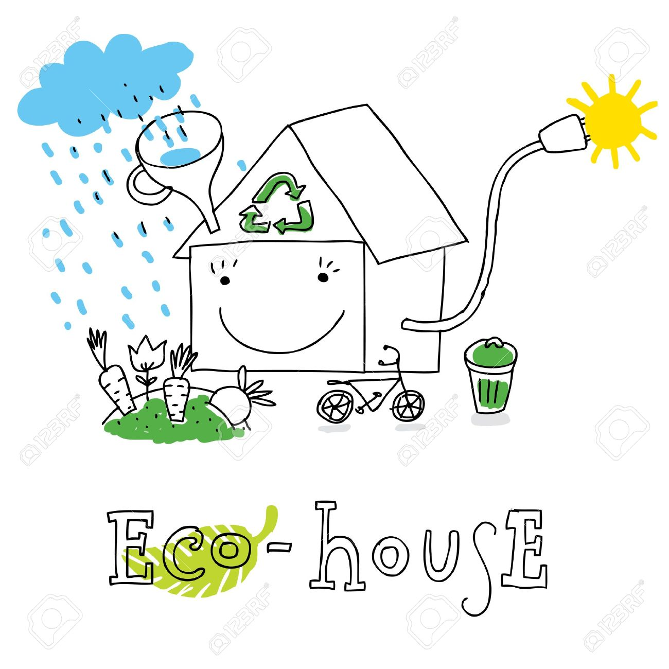 Eco House Ecology And Environment Protection Vector Drawing