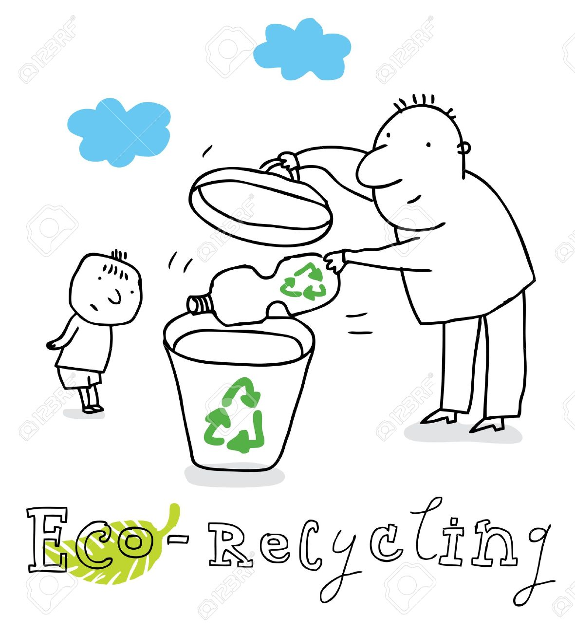 Eco recycling; ecology and environment protection, vector drawing ; isolated on background. Stock Vector - 12380786