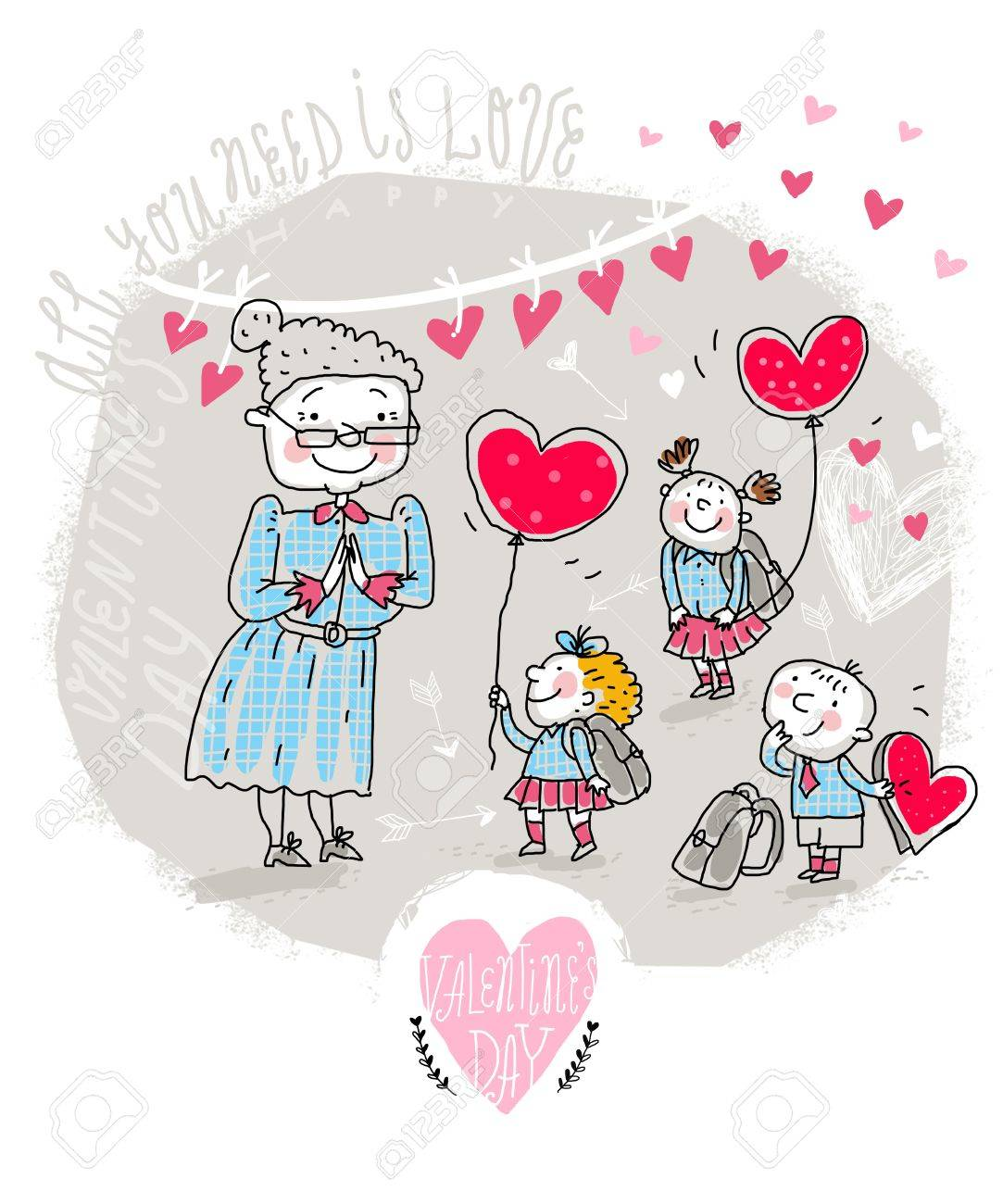 Vector Valentine Card With Teacher And Kids Royalty Free Cliparts