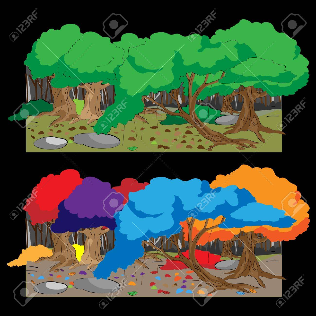 forest Colorful Stock Vector - 17455715