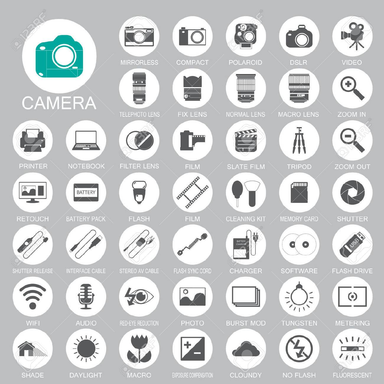 camera Photography icons Stock Vector - 23869411
