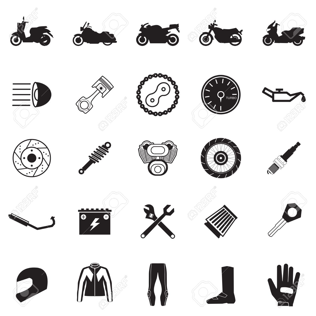 オートバイ部品および項目設定 ロイヤリティフリークリップアート