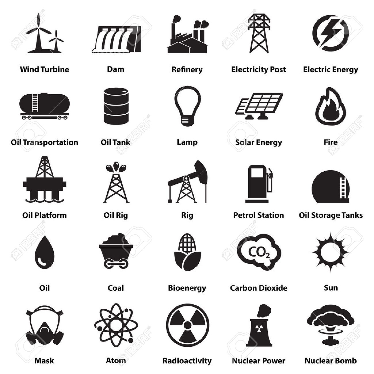 Energy, electricity, power icons Signs and Symbols - 37037259