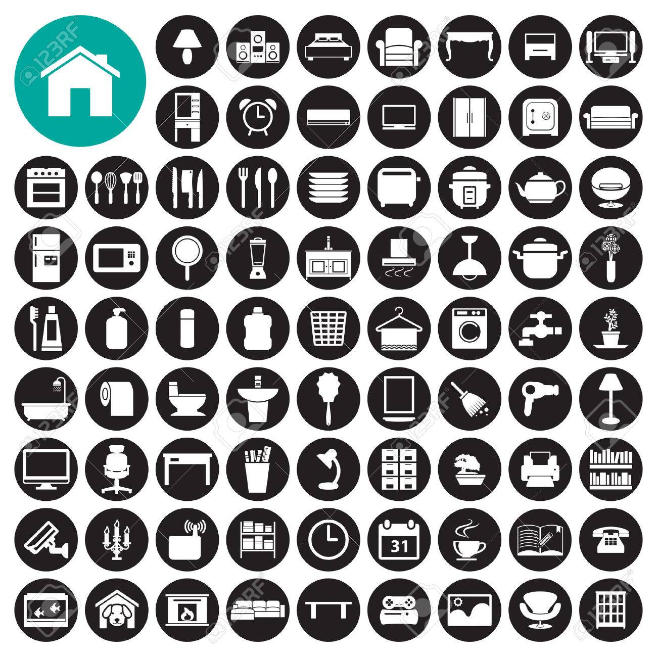 Furniture And Home Decor Icon Set Stock Vector   37459078