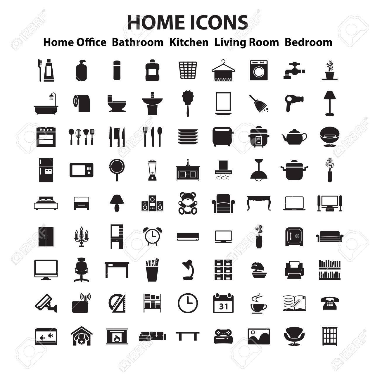 Furniture and home decor icon set Stock Vector   37459094. Furniture And Home Decor Icon Set Royalty Free Cliparts  Vectors