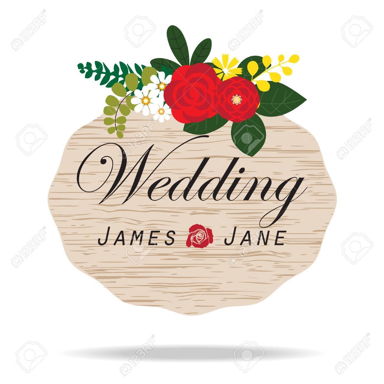 Vintage wedding invitation label flower arrangements background vector vintage wedding invitation label flower arrangements background stopboris Images