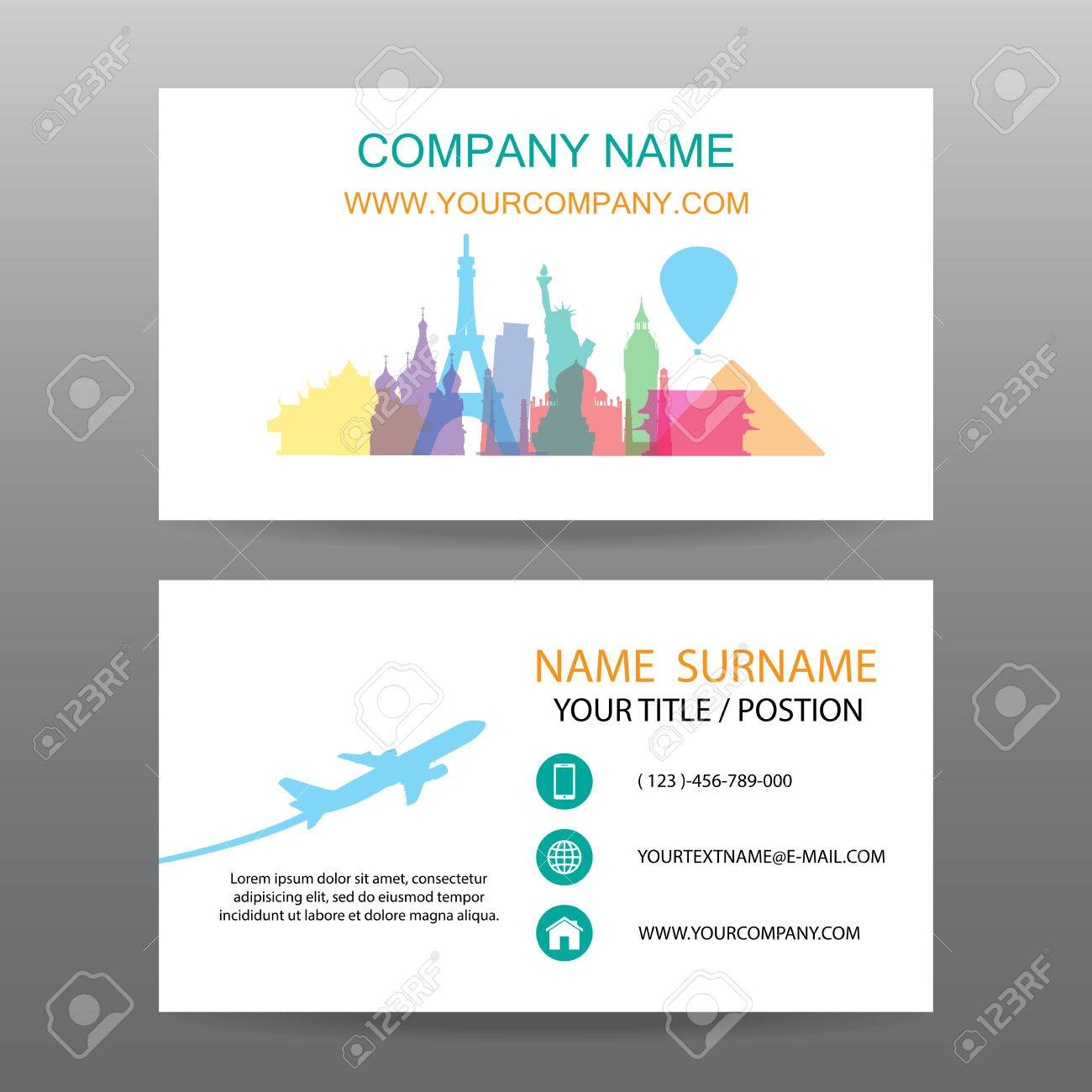 Business Card Vector Background, Guide Tour Companies Royalty Free ...