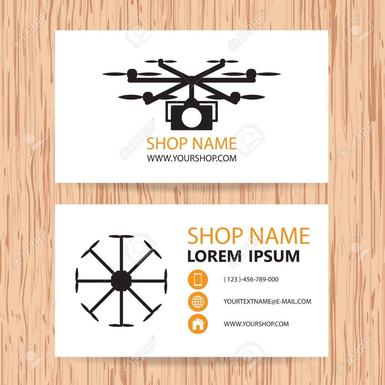 Carte De Visite Vecteur Fond Drone Photographes Et Video Clip