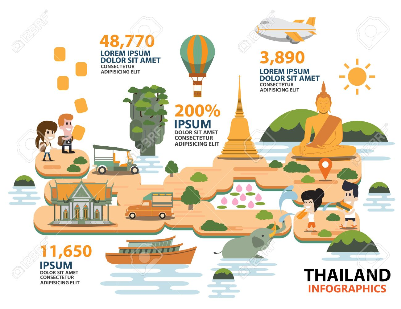 Travel Thailand Infographic Illustration