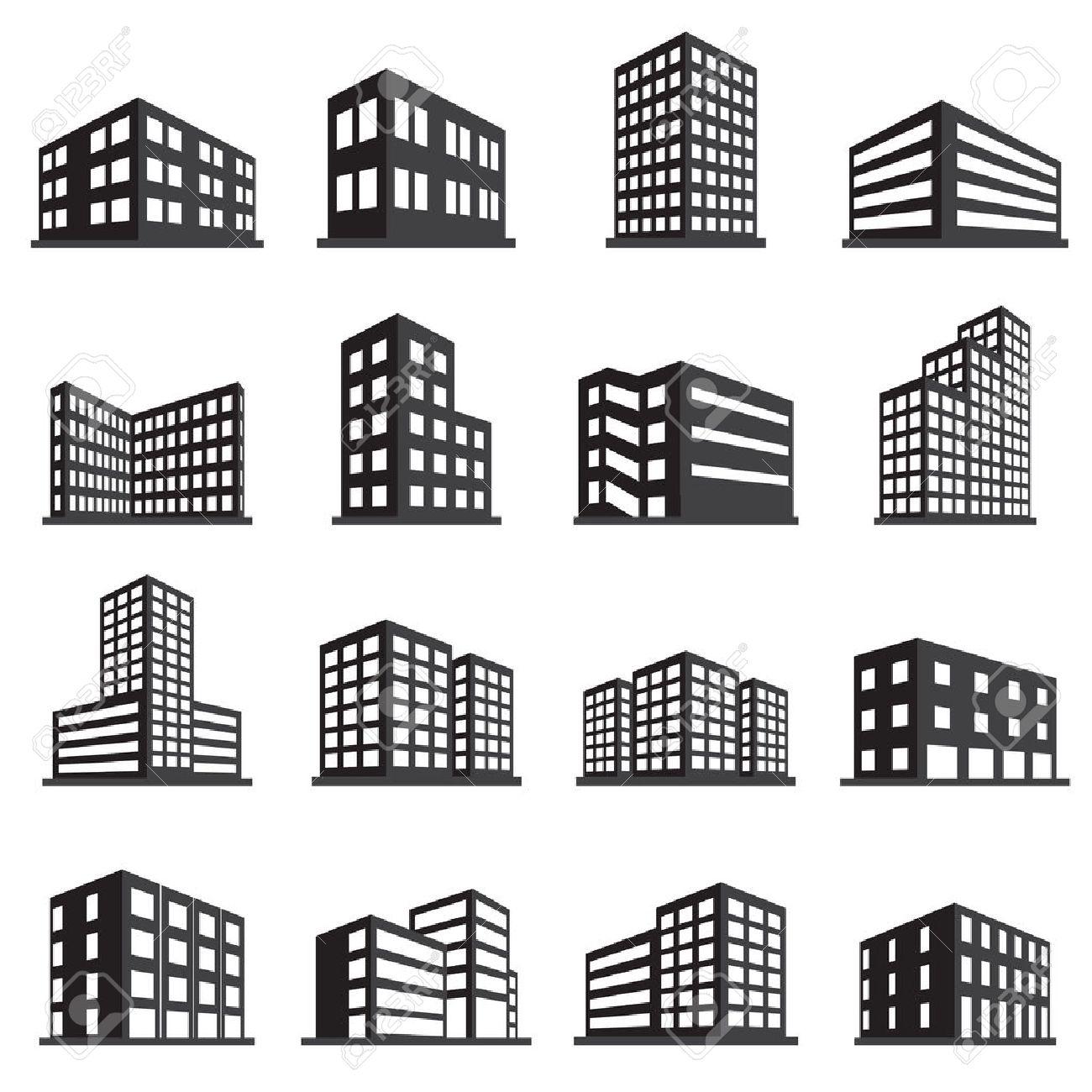 Gebaude Symbol Und Buro Icon Set Lizenzfrei Nutzbare Vektorgrafiken