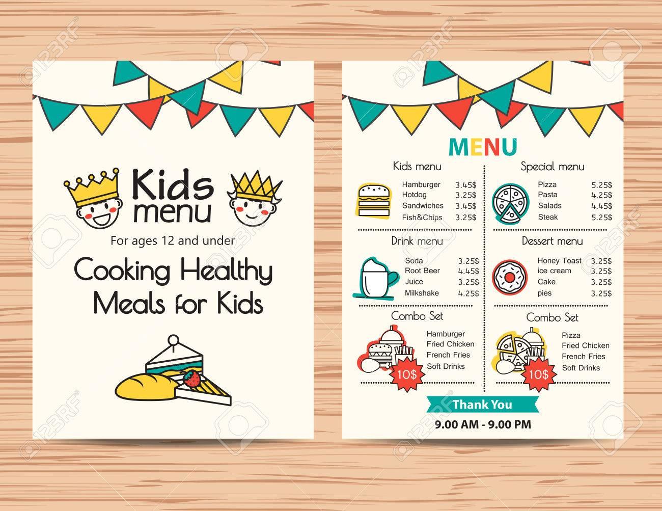 Design Templates Menu Sample Kids Menu Cto Job Description Resume 48358764  Kids Meal Menu Vector Template