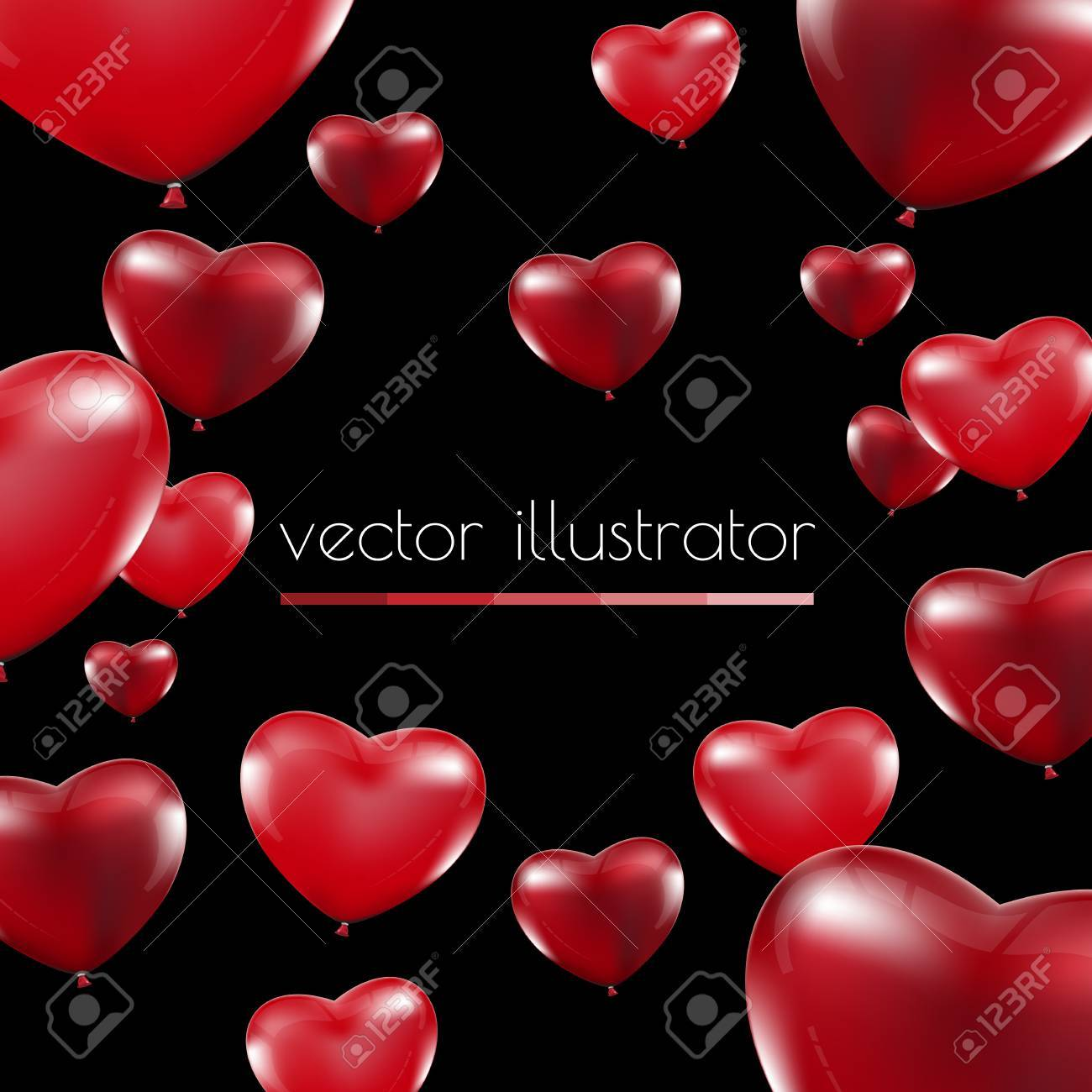 Happy Valentines Day, Red heart balloons colorful illustration background - 50910080
