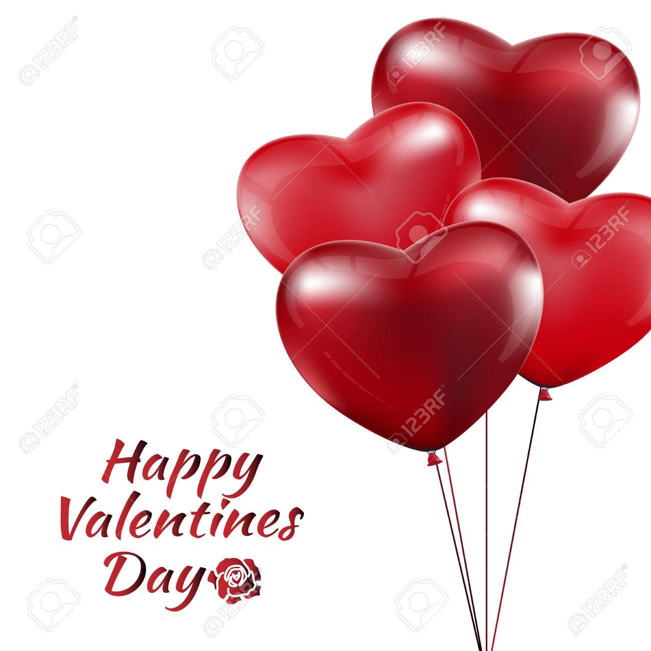 Feliz Da De San Valentn Globos Rojos Del Corazn Colorida