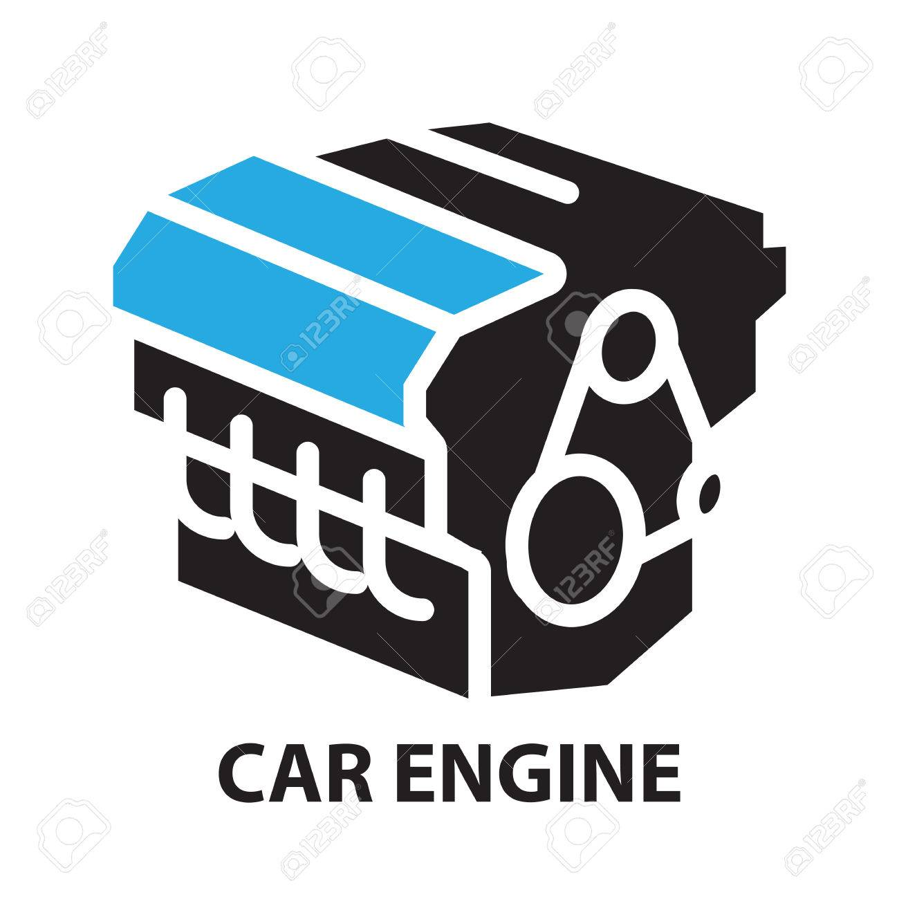 Car Engine Icon And Symbol Royalty Free Cliparts Vectors And
