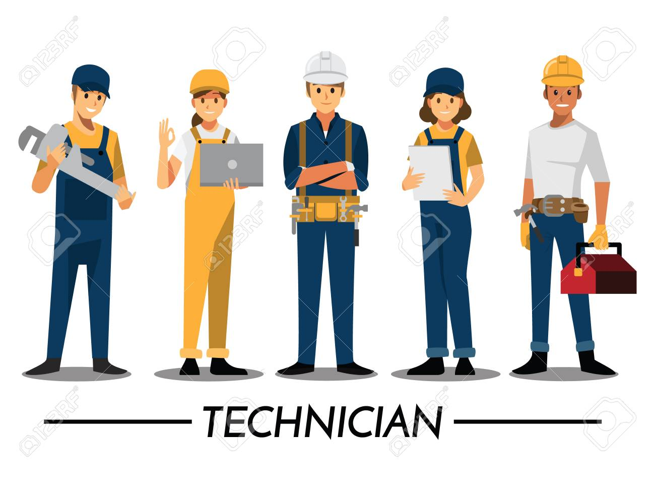 Technician and builders and engineers and mechanics People teamwork ,Vector illustration cartoon character. - 90002786
