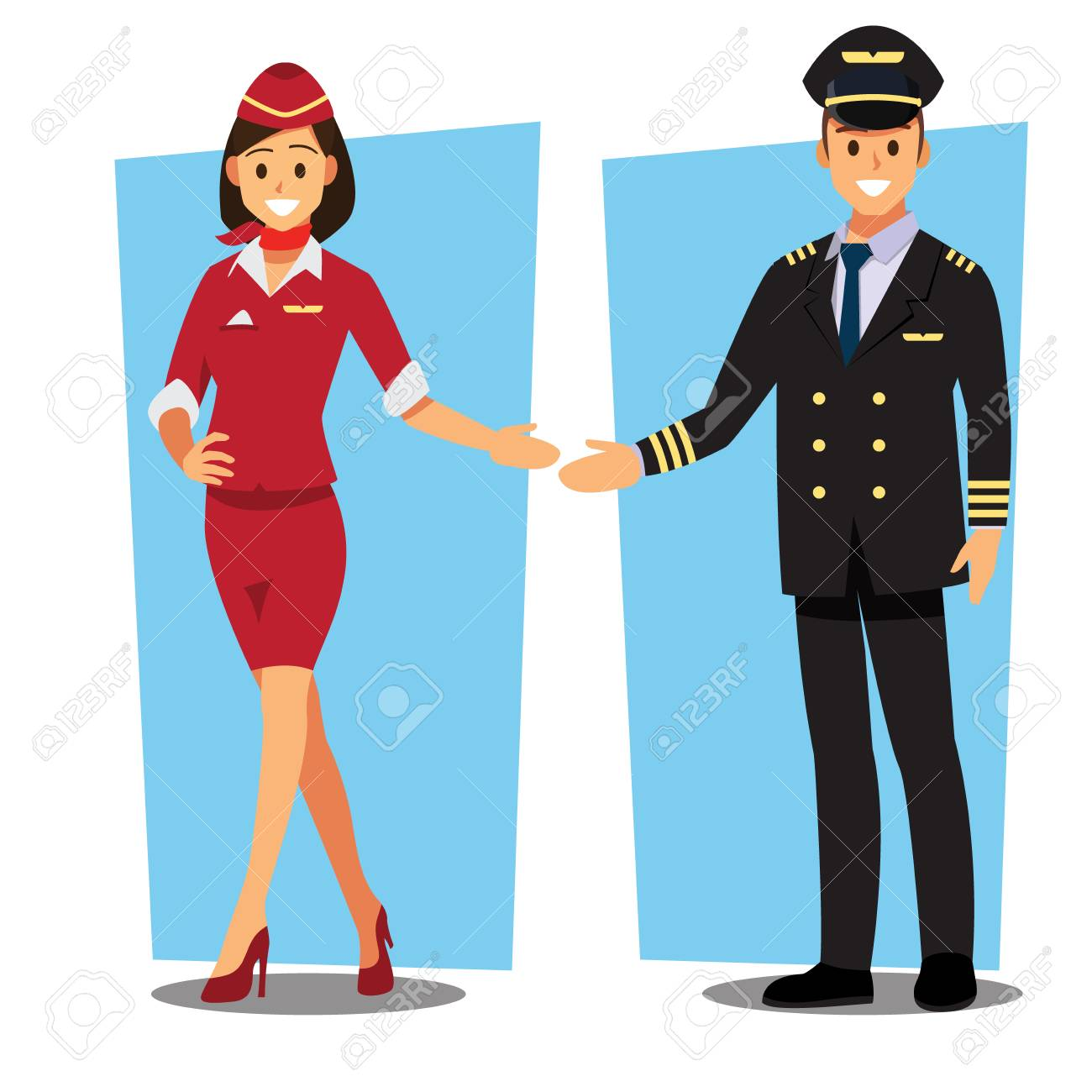 Flying attendant and Pilot character - 94707030