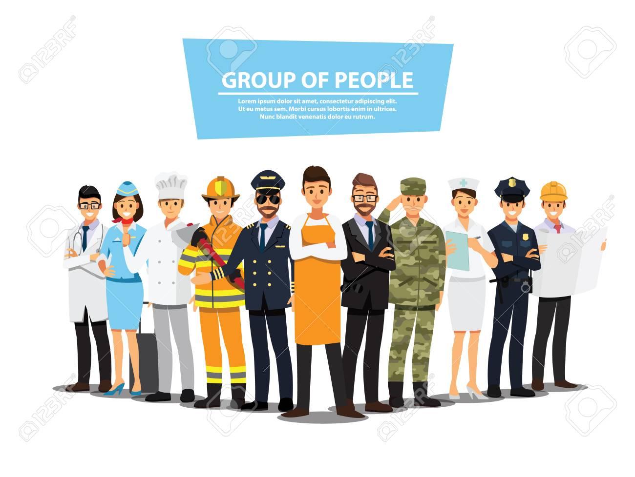 People Group Different Job Set, Flat Vector Illustration Background - 94579367