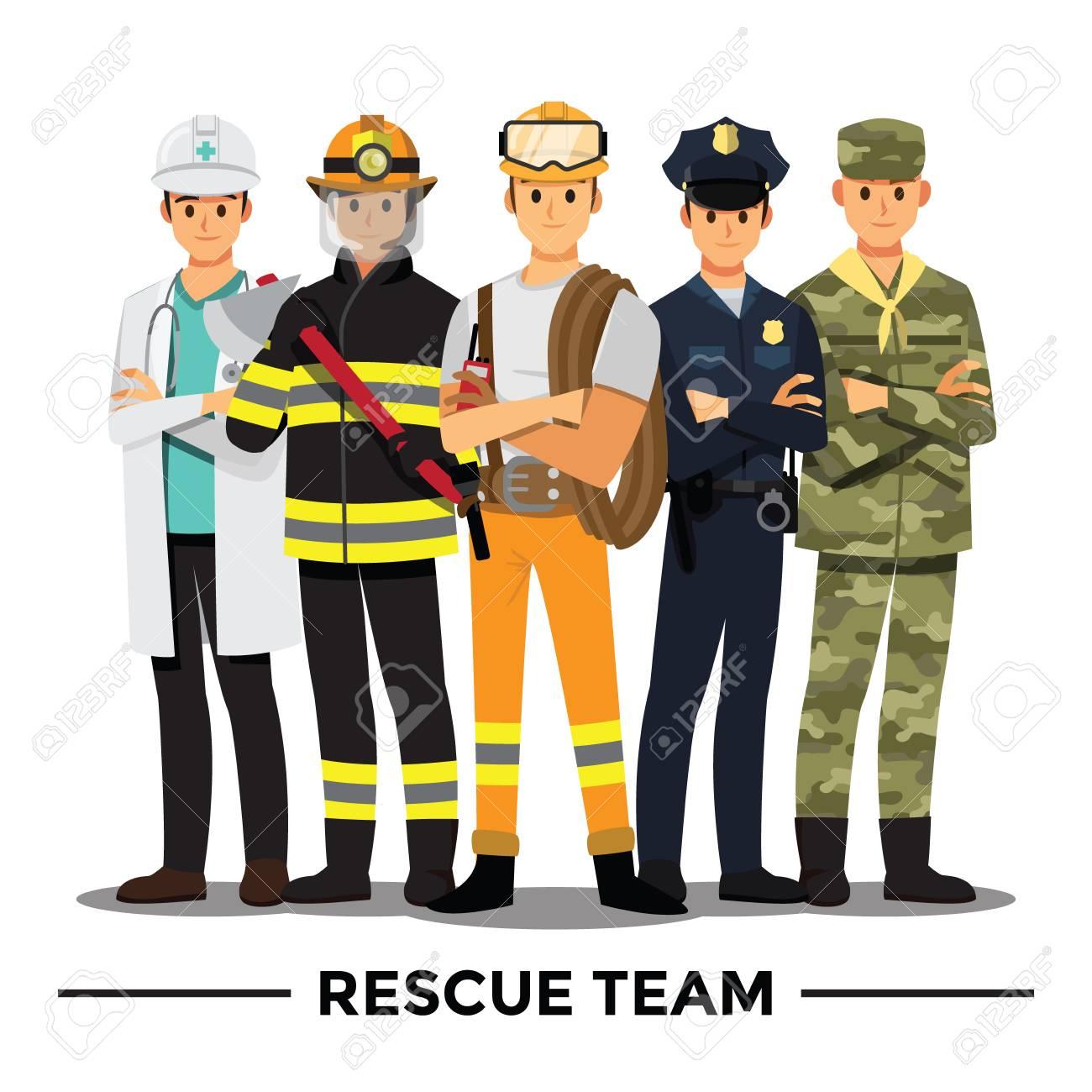 Rescue team cartoon character. - 108190958