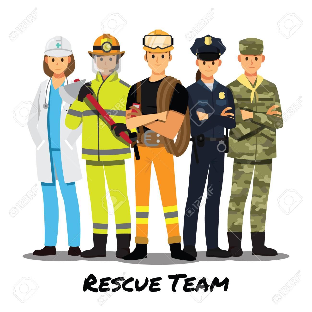 Rescue team cartoon character. - 108190960