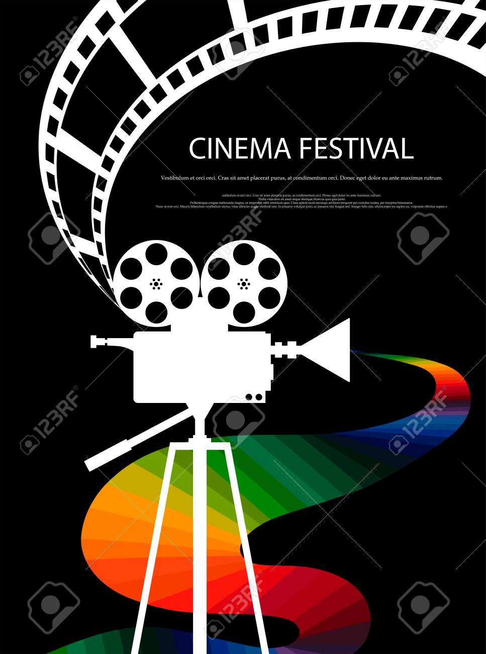 Movie And Film Abstract Modern Poster BackgroundRetro Cinema Festival Design Element Template